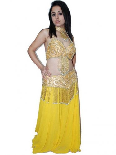 Belly Dancing Costume Set Full Circle Skirt Gold with neckpiece