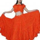 25 Yard 4 Tier Skirt Belly Dance Tribal Skirt Orange 100%  Jaipur Jodhpur