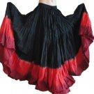 25 Yard 4 Tier Skirt Dance Tribal Skirt 100%  JAIPUR ATS Black/Red Combo