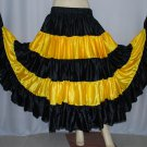 Black yellow Flamenco Tribal Fusion satin skirt