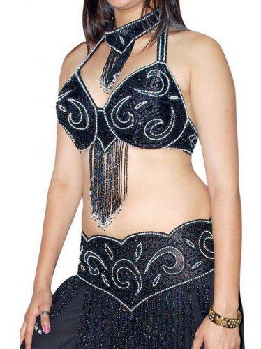 Black Silver Belly Dancing Costume Set Full Circle Skirt DANCE EHS
