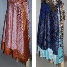 6 Silk Art sari wrap around vintage skirt dress - indiantrend
