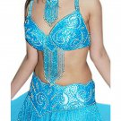 Turquoise Belly Dancing Costume Set Full Circle Skirt