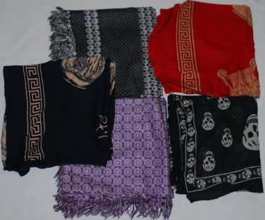 Mix Pack of 5 Long Unisex Scarves