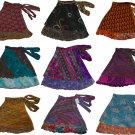 Pack of 5 Womens Wrap Around Sari Magic Art Silk Skirts