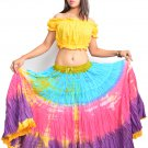Mutli Color  tie dye Oriental belly dance skirt New