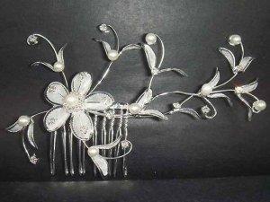 Bridal Crystal Rhinestone Flower Hair tiara Comb RB66