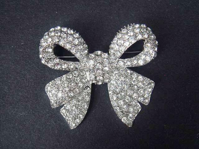 Bridal Dress Bow Crystal Rhinestone Brooch pin PI413