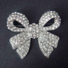 Bridal Dress Bow Crystal Rhinestone Brooch pin PI413