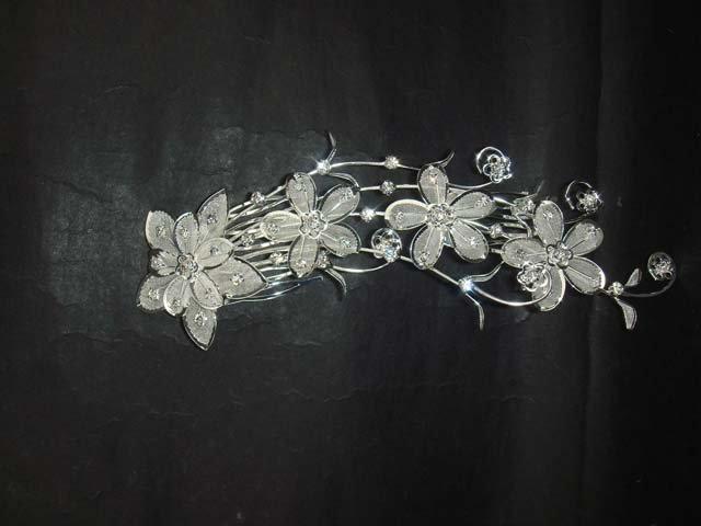 Bridal Rhinestone Flower Crystal Hair tiara Comb RB435