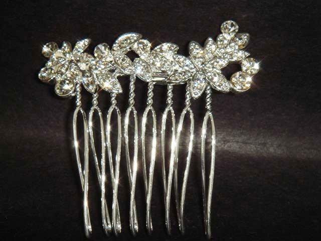 Bridal crystal Flower Rhinestone Hair tiara Comb RB291