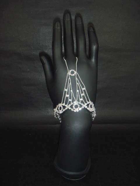 Sexy Rhinestone cuff slave Bracelet with ring BR196