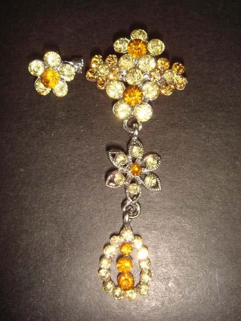 2 pcs Bridal Vintage Style Rhinestone Brooch pin Pi157