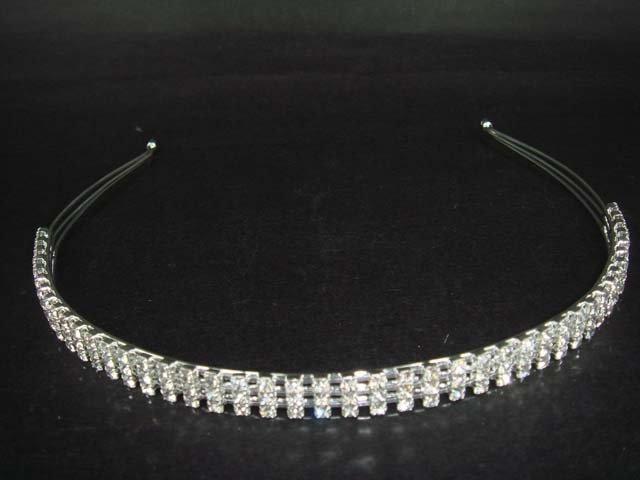3 row Bridal Crystal Rhinestone Headband Tiara HR88