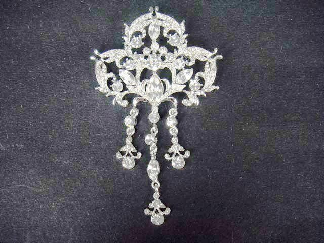 Bridal vintage style dress Rhinestone Brooch pin PI410