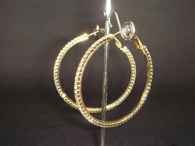 "Bridal gold Rhinestone Earring Hoop Crystal 2"" ER18"