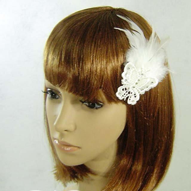 Bridal Feather Butterfly rhinestone hair clip BA136