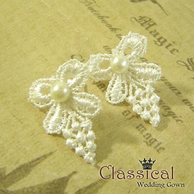 Bridal Crochet Faux Pearl White dangle Earring ER177