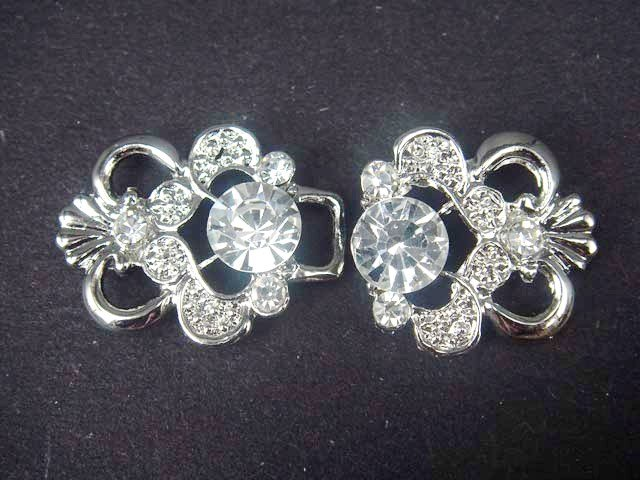 Dress Crystal Rhinestone clasp hook buckle button BU13