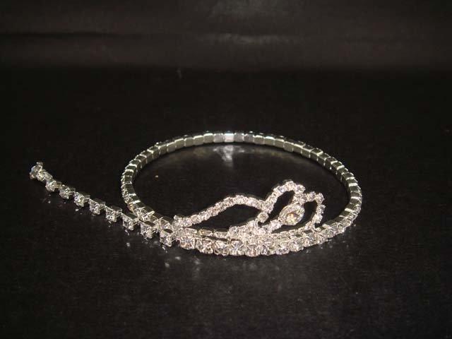 Bridal Heart Rhinestone Bangle Bracelet Armlet BR194