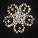 Bridal Flower Vintage style Rhinestone Brooch pin PI73