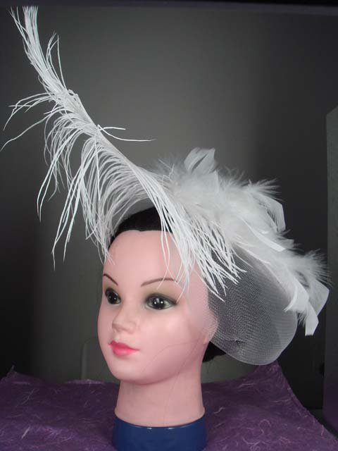 Bridal Flower Ivory Feather Fascinator Hat Pin BA126