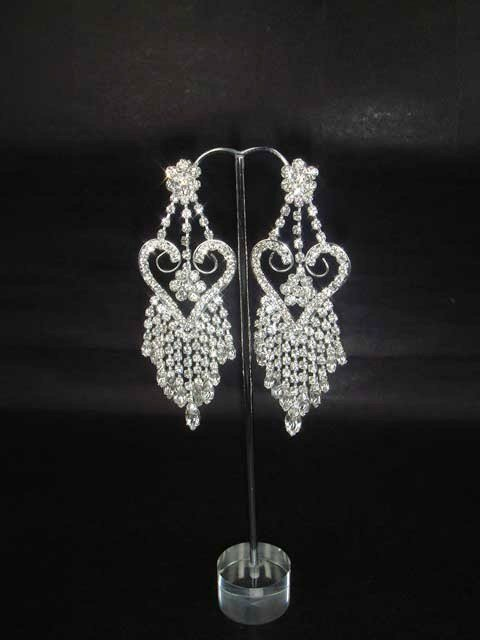 Bridal Heart Chandelier Rhinestone dangle Earring ER166