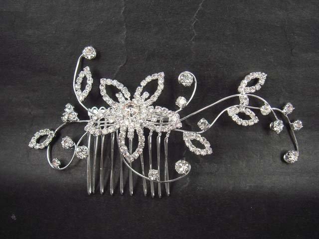 Bridal Rhinestone Flower crystal Hair tiara Comb RB389D
