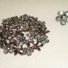 Bridal Vintage style Black Rhinestone Brooch pin PI381