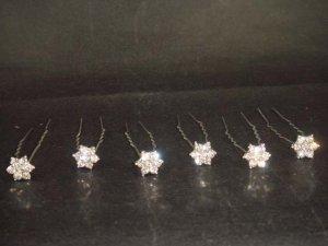 6 Bridal crystal veil prom Rhinestone Hairpin RP166