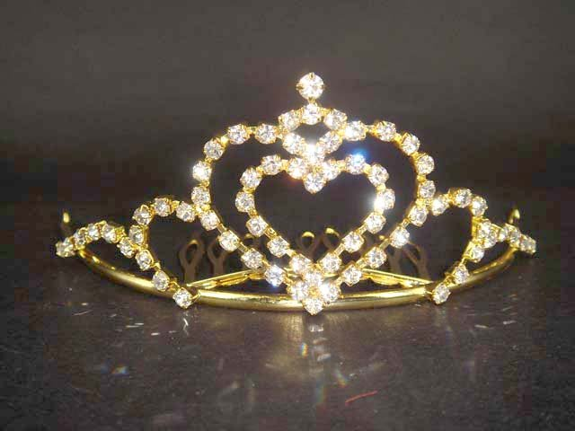Bridal Rhinestone heart hair tiara comb crown C03
