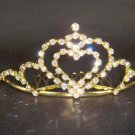 Bridal Rhinestone heart hair tiara comb crown C03