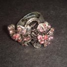 Vintage style Pink Rhinestone Flower Cocktail Ring R35