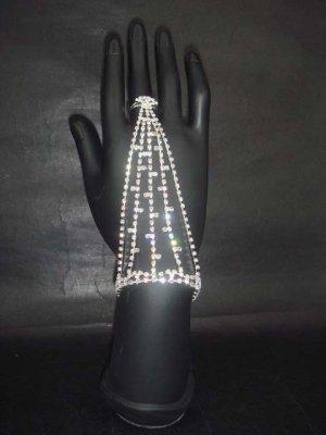 Sexy Rhinestone cuff slave Bracelet with ring BR198