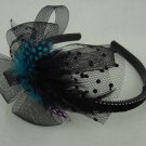 Bridal Feather Bow peacock Pheasant Blue Headband HR87