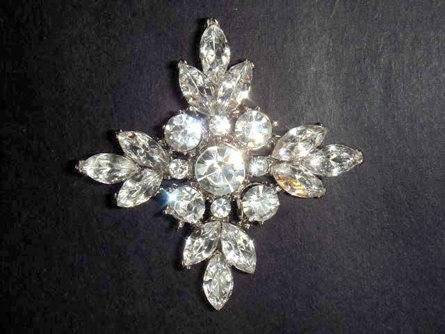 Bridal Bridesmaid Cross Rhinestone Brooch pin PI38