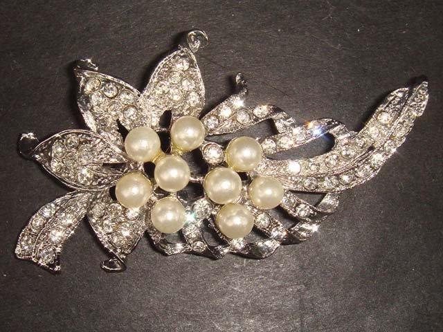 Bridal Faux Pearl Crystal Rhinestone Brooch pin PI81