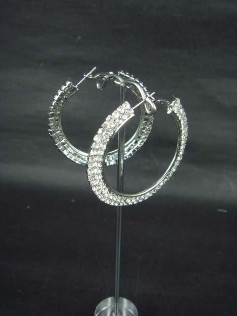 """2 row Bridal hoop Rhinestone Crystal Earring 2"""" ER170"""