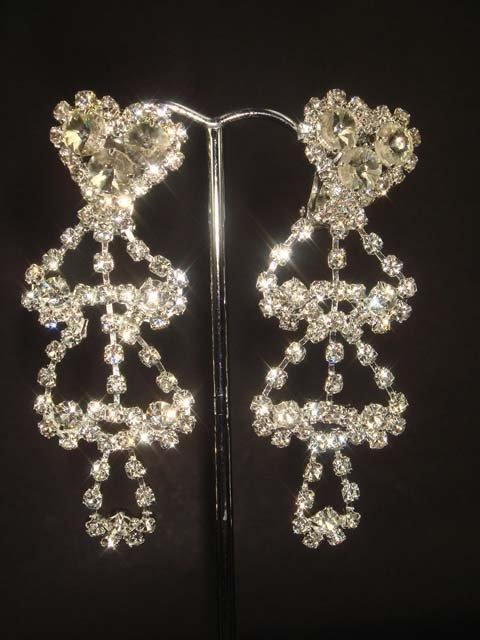 Bridal Clip on Cystral Heart Rhinestone Earring ER142