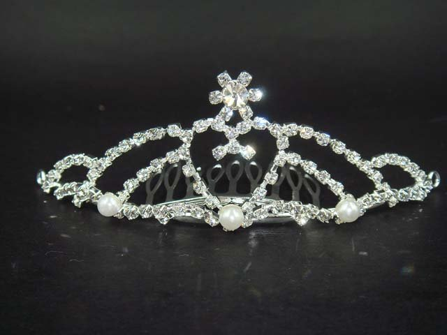 Bridal Faux Pearl Rhinestone crown Hair Comb tiara BH84