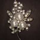 Bridal Faux Pearl Crystal Rhinestone Brooch pin PI414