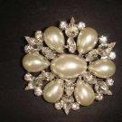 Bridal Crystal Faux Pearl Rhinestone Brooch pin Pi177