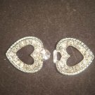 Bridal dress heart Rhinestone clasp hook button BU29