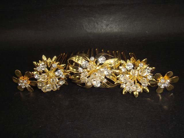 Bridal Rhinestone crystal Flower Hair tiara Comb RB332
