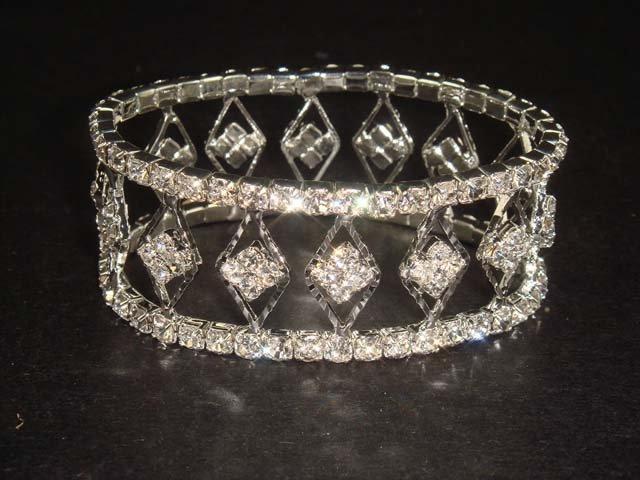Bridal Crystal Rhinestone Bangle rhombus Bracelet BR159