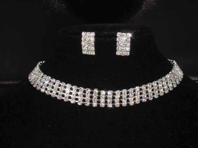 4 row Bridal Rhinestone necklace earring Set NR208
