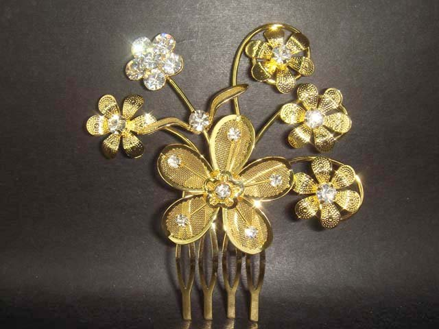 Bridal Crystal golden Rhinestone Hair tiara Comb RB58