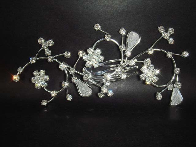 Bridal Crystal Rhinestone Flower Hair tiara Comb RB60