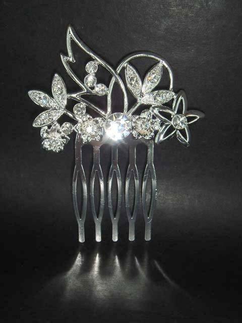 Bridal flower Crystal tiara rhinestone hair comb RB150