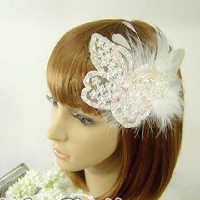 Bridal Feather white butterfly rhinestone  clip BA138